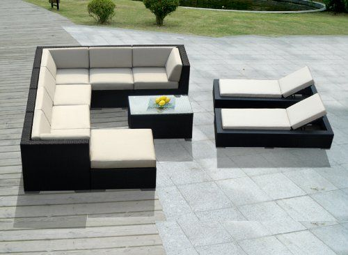 Genuine Ohana Outdoor Sectional Sofa And Chaise Lounge Set (10 Pc Set) With  Free