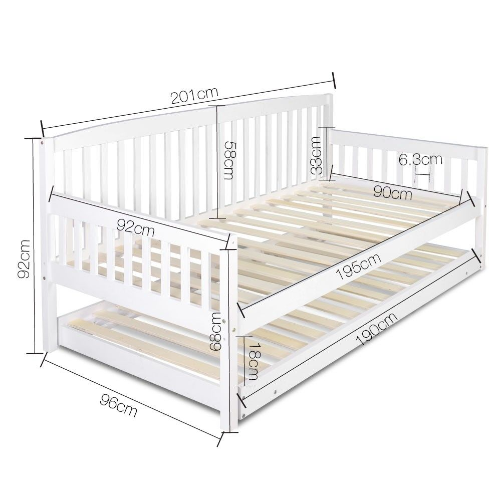 Sofa Bed W Pull Out Trundle Fold Out Legs Wooden Slats Daybed