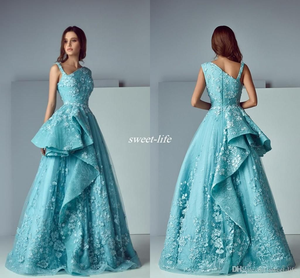 New Arrival 2017 A-Line Mint Blue Lace Arabic Evening Dresses V-Neck ...