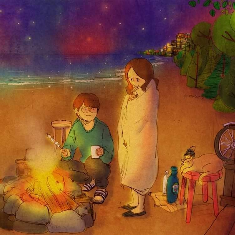 We looked at the warm fire.  Sit next to me. I'll grill some marshmallows and sausages for you.    See a full illustration : grafolio.com/works/282282