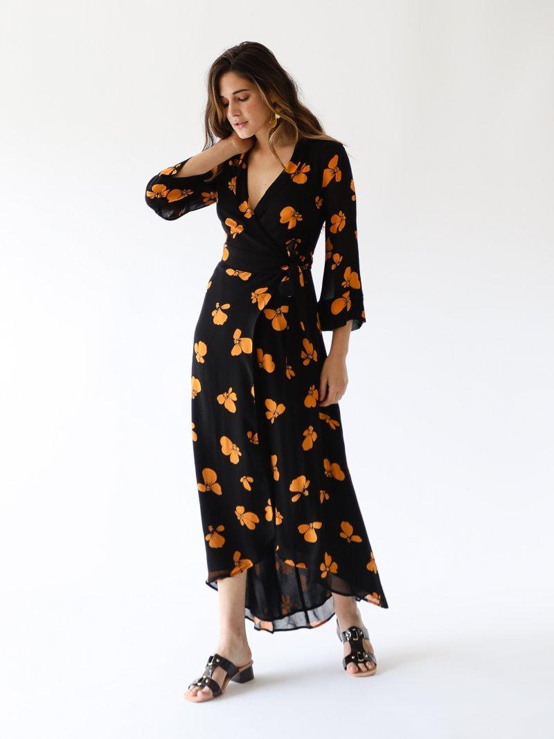 adbe9aa140c GANNI - Fairfax Georgette Wrap Dress in Black