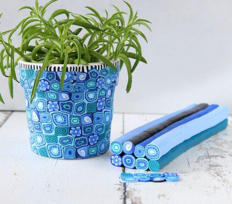 Blue vivid medium size polymer clay indoor planter