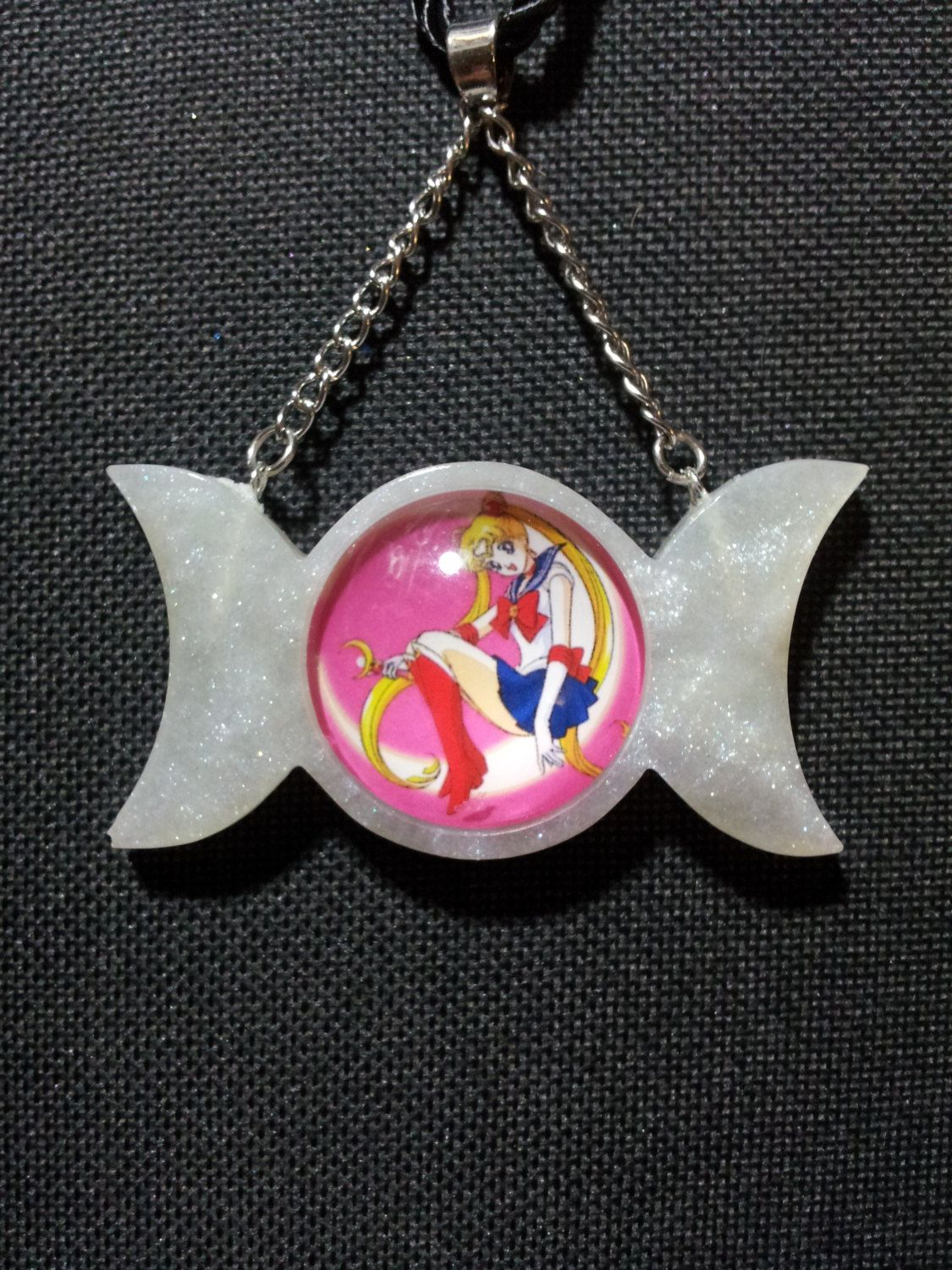 Triple Moon with Girl in White Pearl Resin + Free Shipping Worldwide, Triple Moon Jewelry, Girl sitting on moon, Moon Jewelry, Anime Jewelry by OurArtyCreations on Etsy