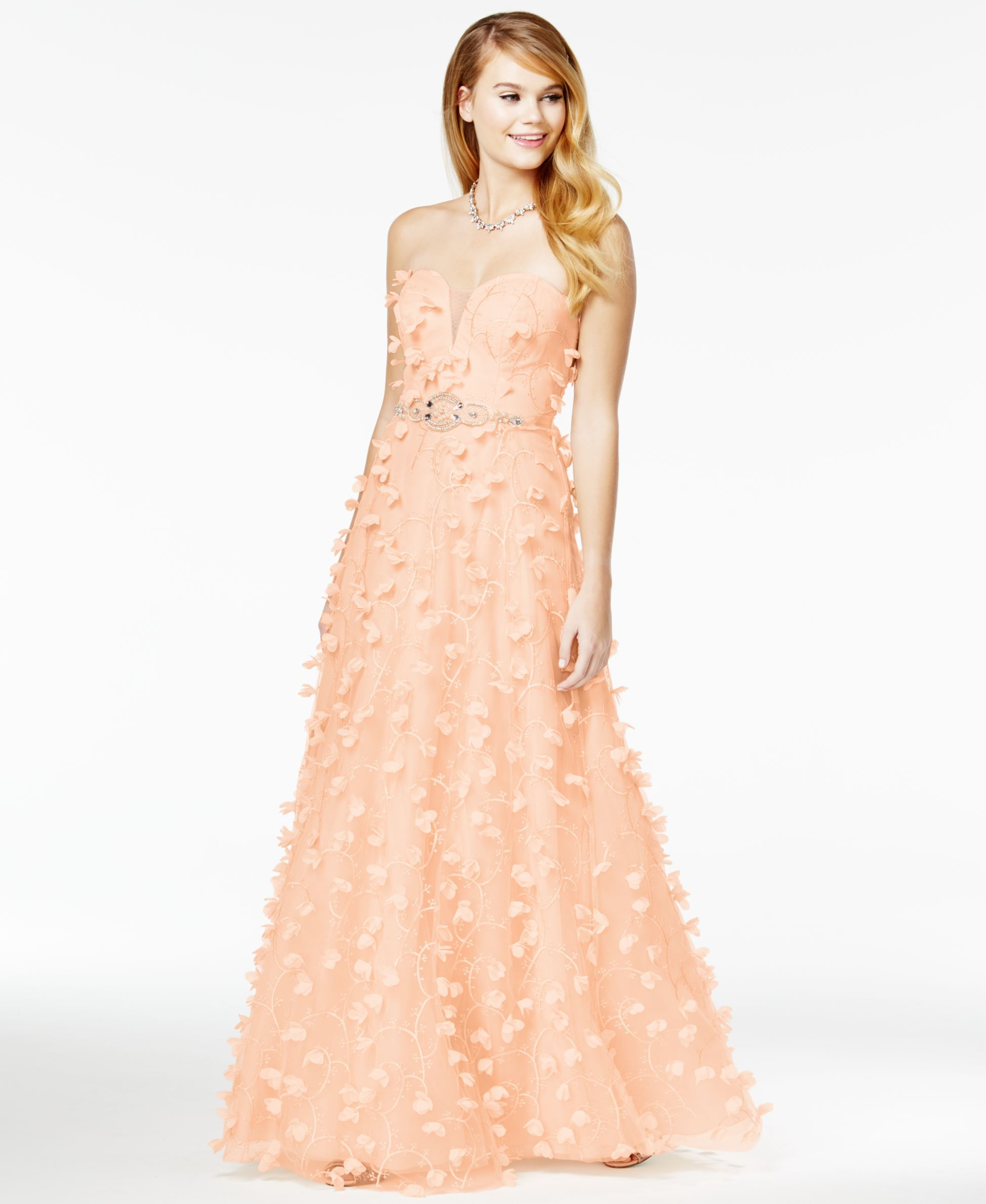 Say Yes to the Prom Juniors\' Strapless Floral-Applique Gown, A ...