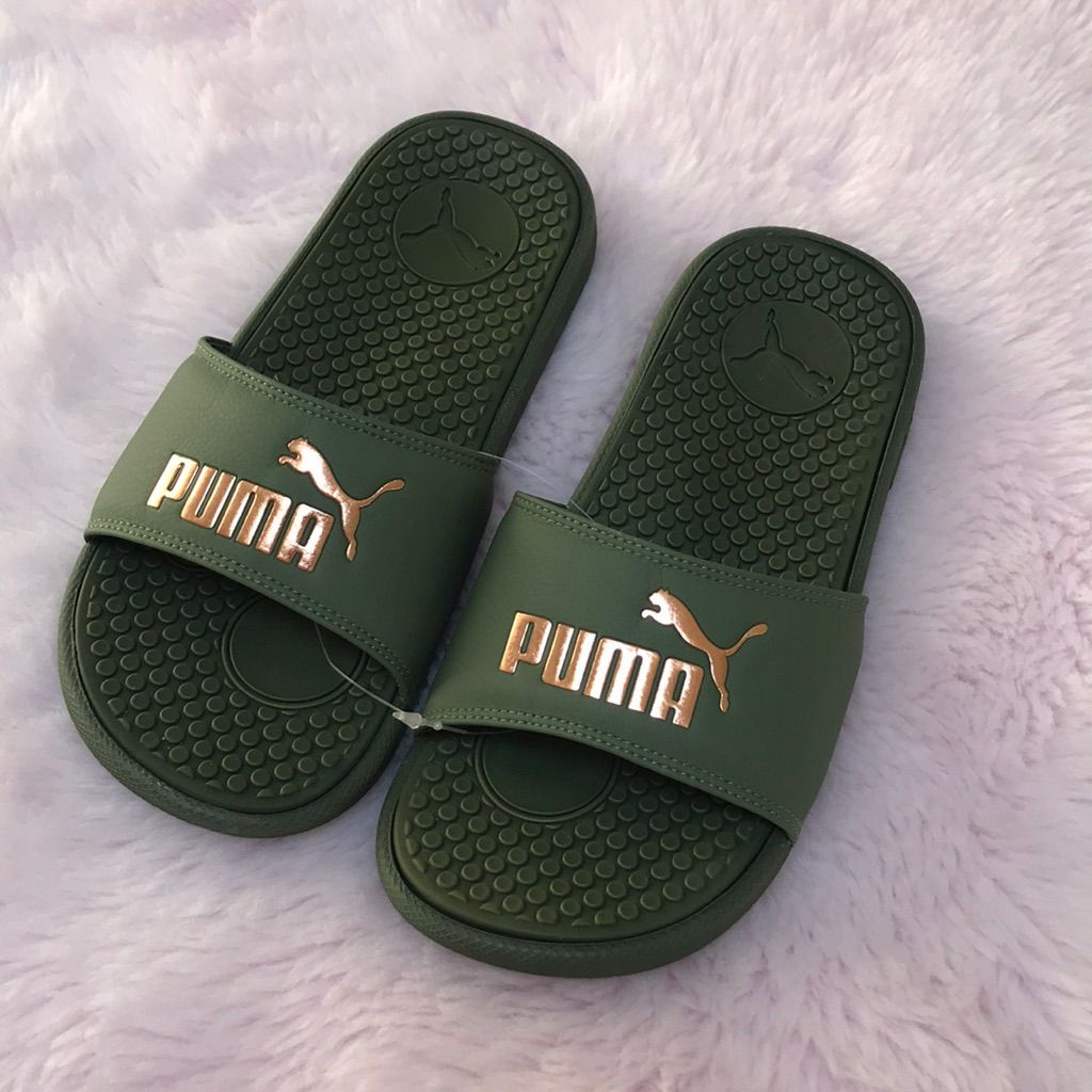 PUMA GREEN SLIDE   Puma shoes women, Green puma shoes, Puma slippers