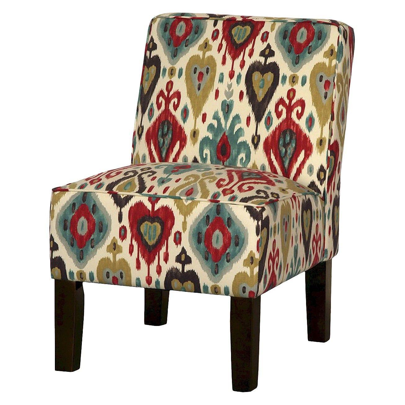 Burke Armless Slipper Chair Brown/Red/Blue Ikat Target
