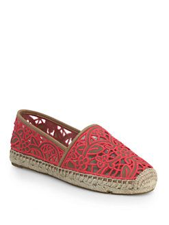Tory Burch - Lucia Leather Lace Espadrilles