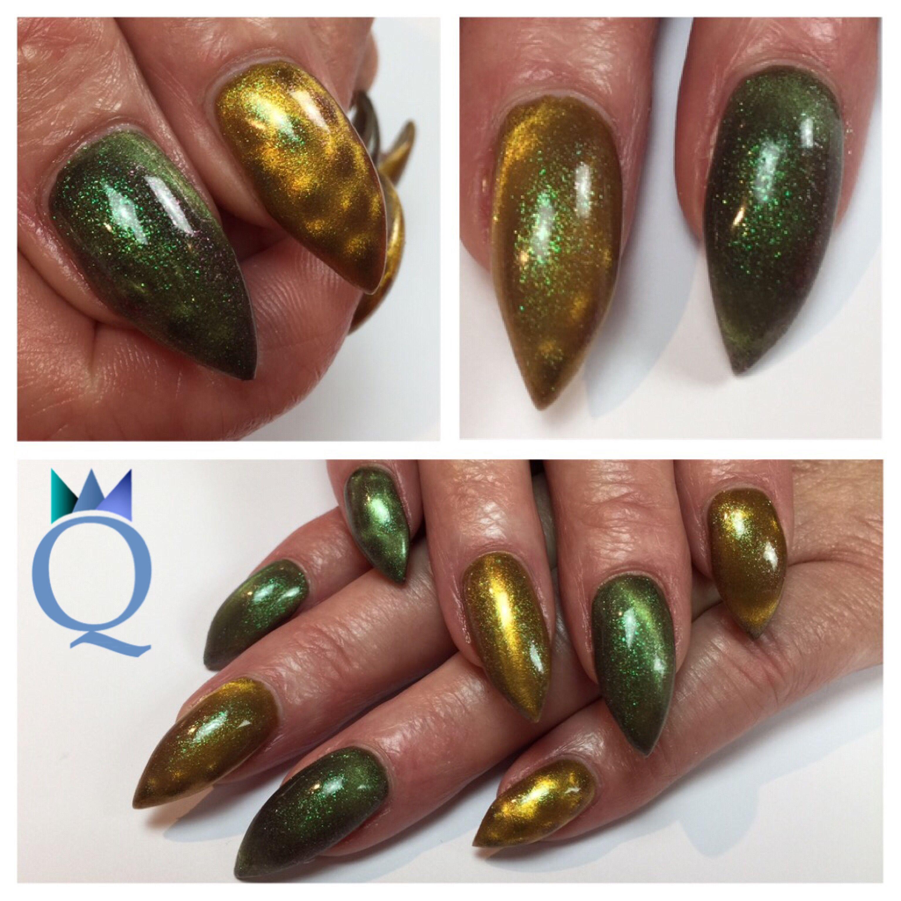 stilleto #gelnails #nails #green #gold #cateye #nailcode ...