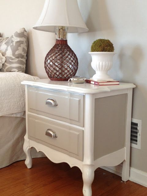 Refinished Nightstand In Diy Chalk Paint Before And After Photos Painted Furniture Designs Furniture Makeover Painted Furniture