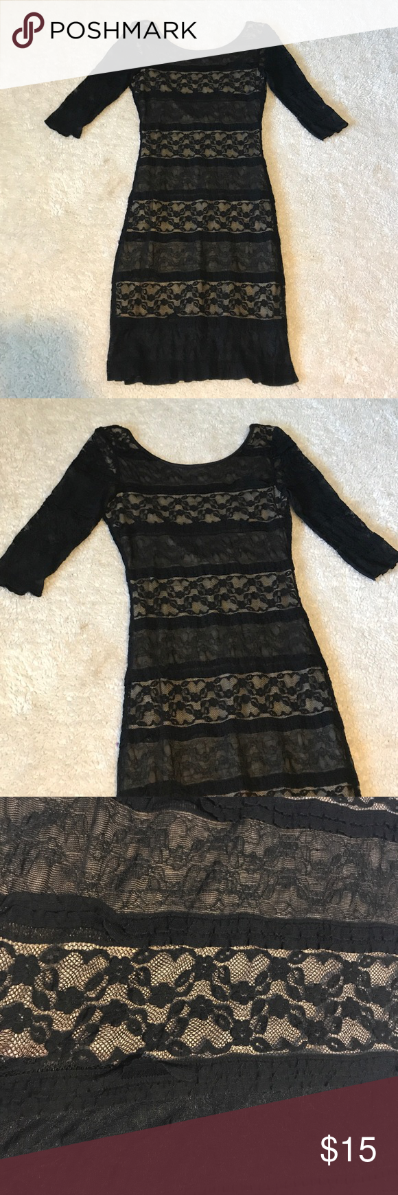 Lace Dress With Scoop Neckline 3 4 Sleeve Dress Windsor Dresses Long Sleeve Clothes Design Lace Dress 3 4 Sleeve Dress [ 1740 x 580 Pixel ]