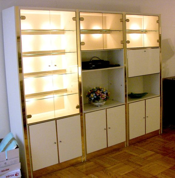 Vintage 70\'s/80\'s Lighted Modern Wall Unit Brass | Modern wall units ...