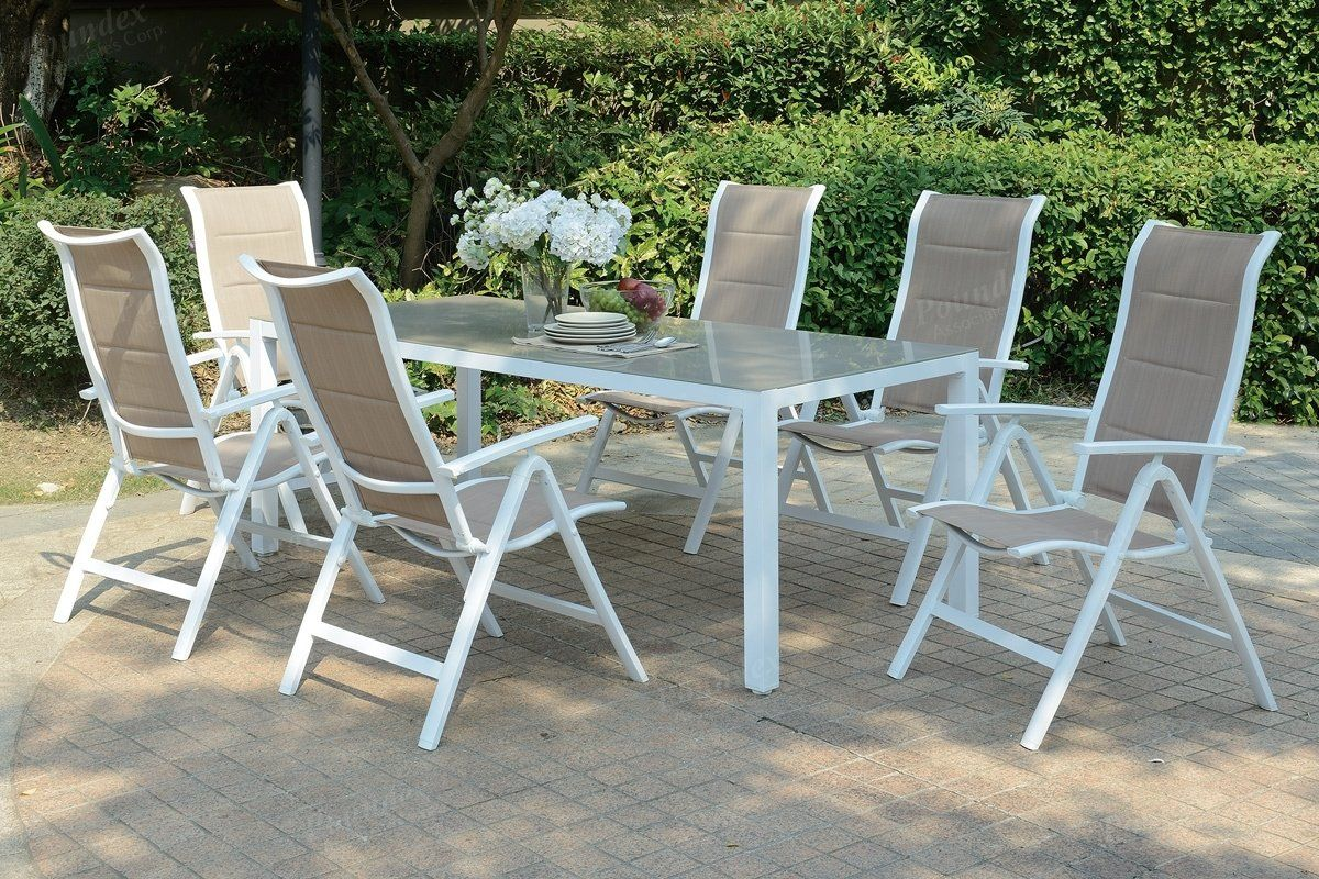 Poundex 7 Pieces White Wood Finish Outdoor Patio Table Set Patio