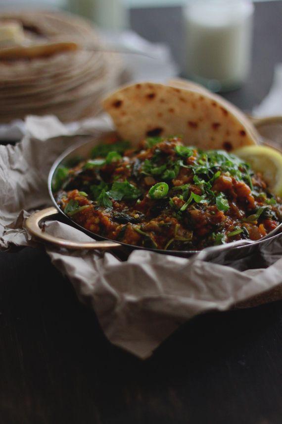 recipe: aubergine spinach curry coconut milk [30]