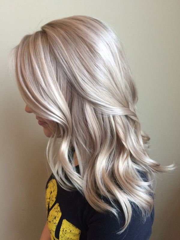 Blonde Hair Platinum Icy Neutral Medium Length Hairstyle