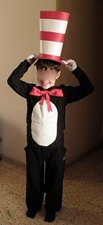 cat in the hat costume...could do a stuffed belly/hooded costume worn over his black long underwear