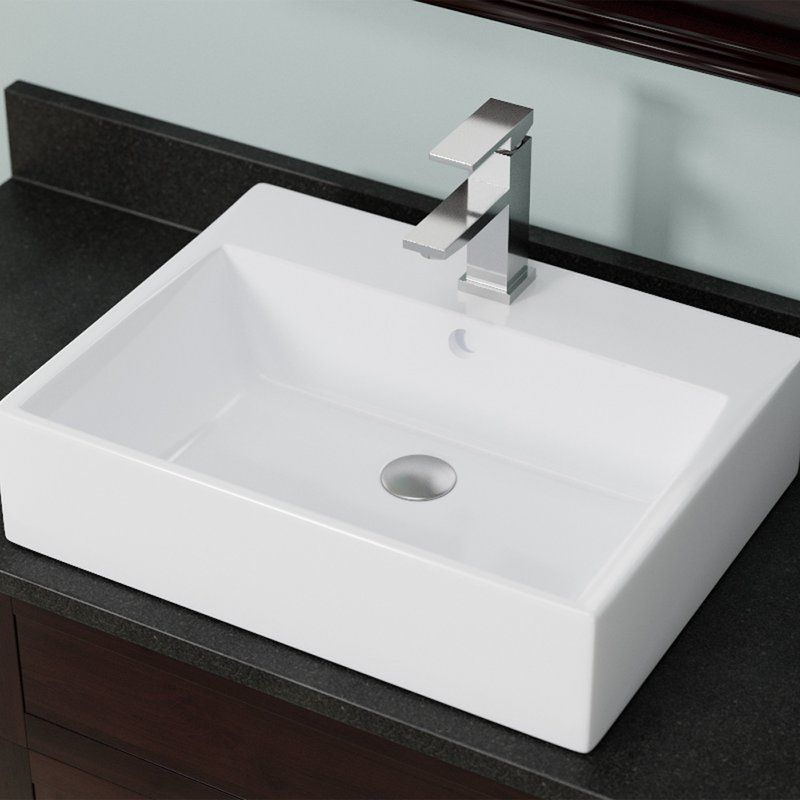 Vitreous China Rectangular Vessel Bathroom Sink With Overflow