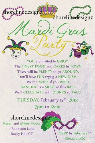 custom printable mardi gras theme party invitation design | mardi, Party invitations