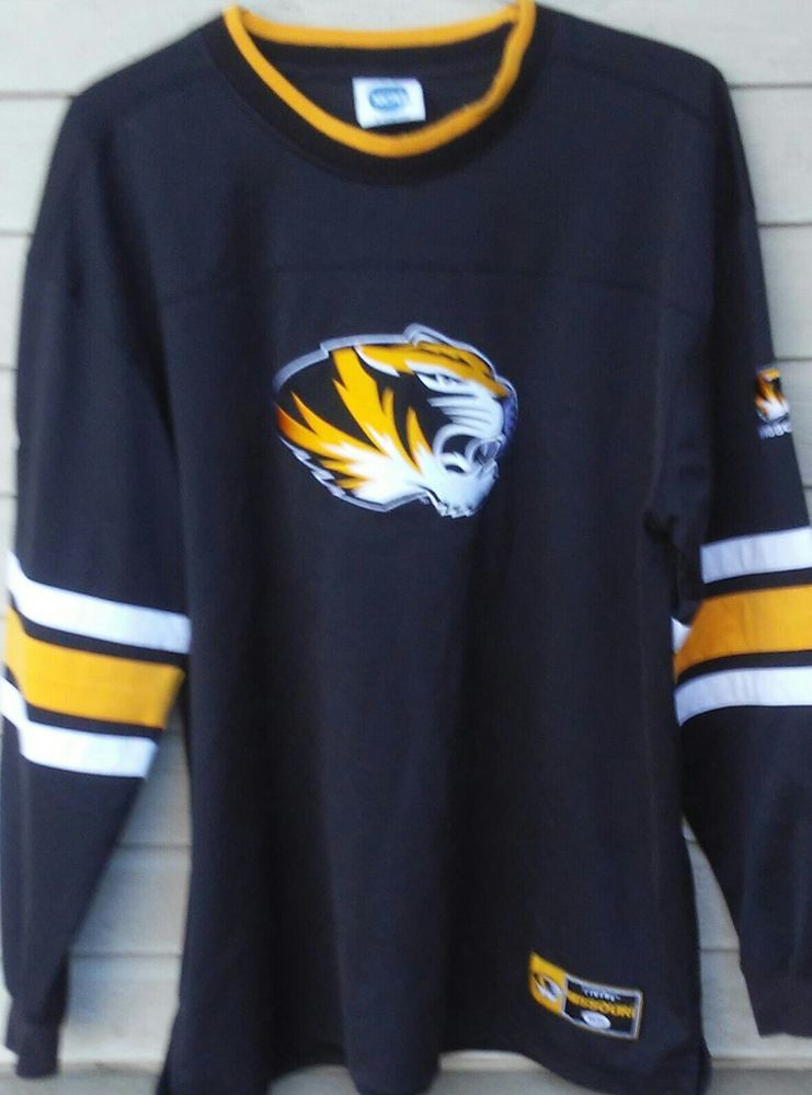 5107b3083493b5 Missouri Tigers Pullover Long Sleeve Shirt Vintage NCAA Black and Gold  Jersey  Unbranded  MissouriTigers
