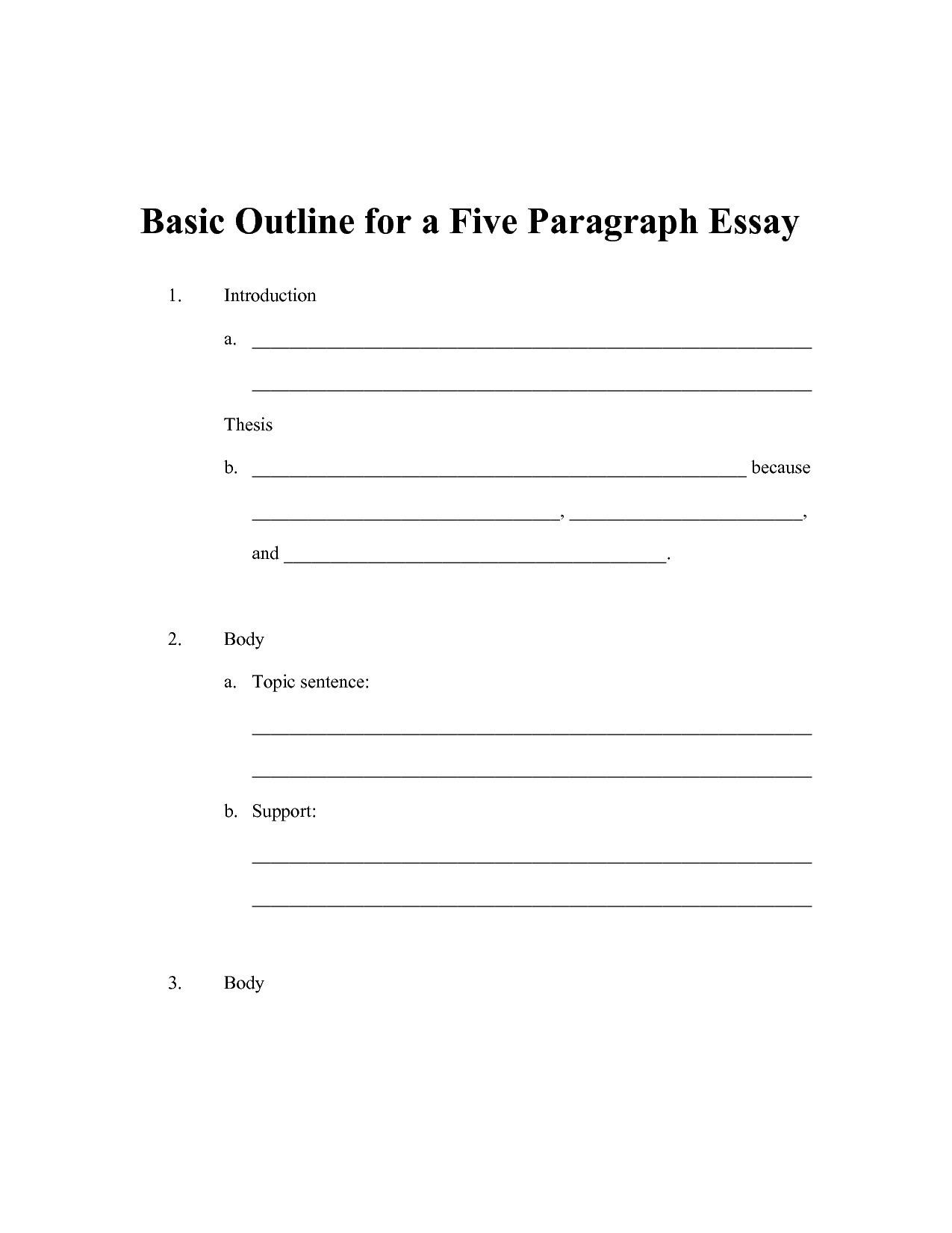 5 Paragraph Essay Outline Template Up To Date Simple Essay