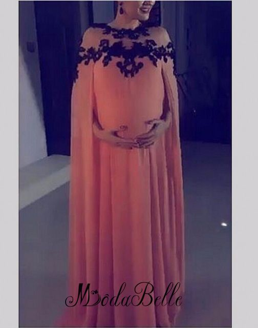 ae1f2e1fa7b 2016 New Long Formal Evening Dresses For Pregnant Women Maternity Turkish Dresses  Dubai Evening Gowns With Cape Black Appliques