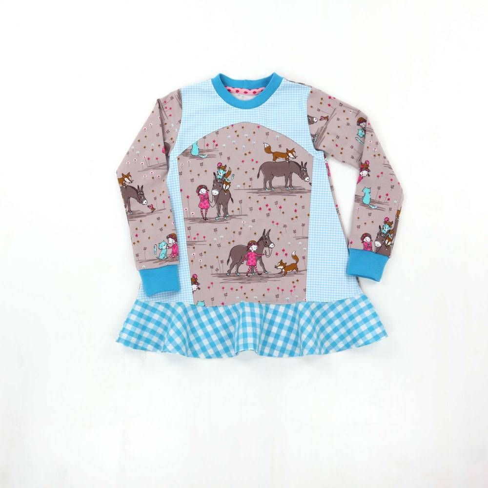 Tunika Madchen 116 Longshirt Volant Langarmshirt Lillestoff Longshirt Kleidchen