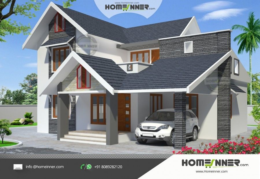 1967 Sq Ft 4 Bedroom Western Style Home Design Kerala House Design House Design Kerala Houses