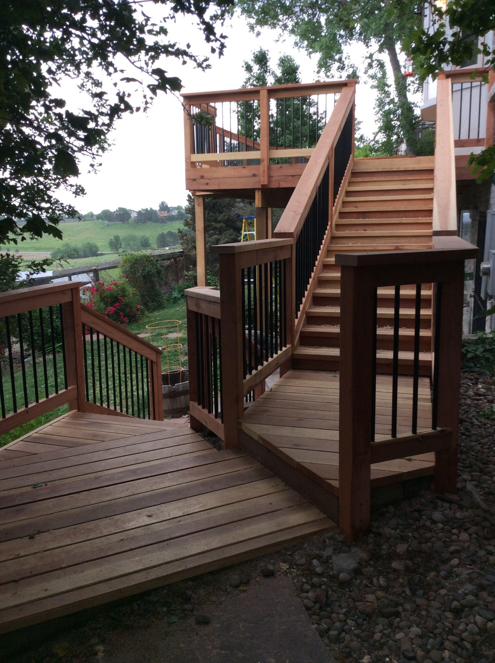 Best Redwood Stairs And Landing Custom Decks Outdoor Decor 400 x 300