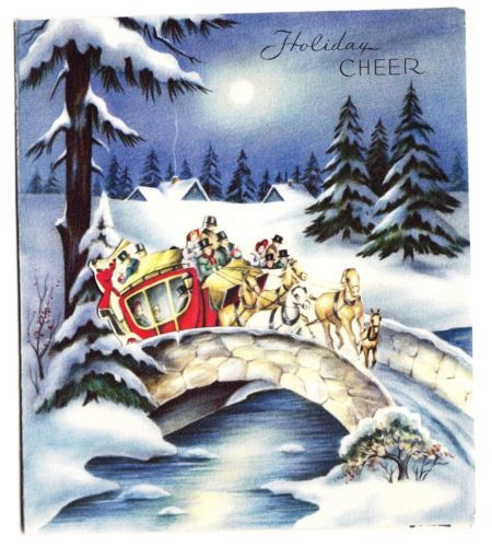Vintage Old Fashion People in Stagecoach Over Bridge Christmas