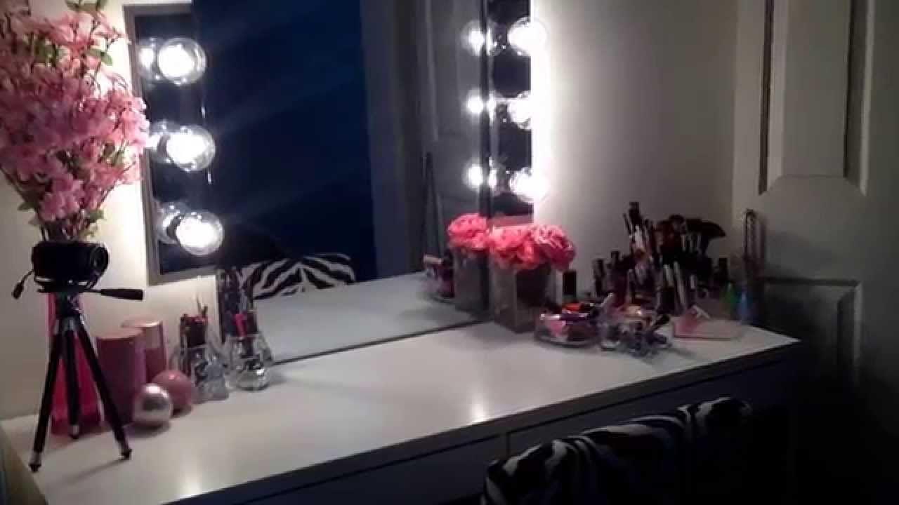 DIY Hollywood Vanity Mirror & Ikea Micke Desk Vanity