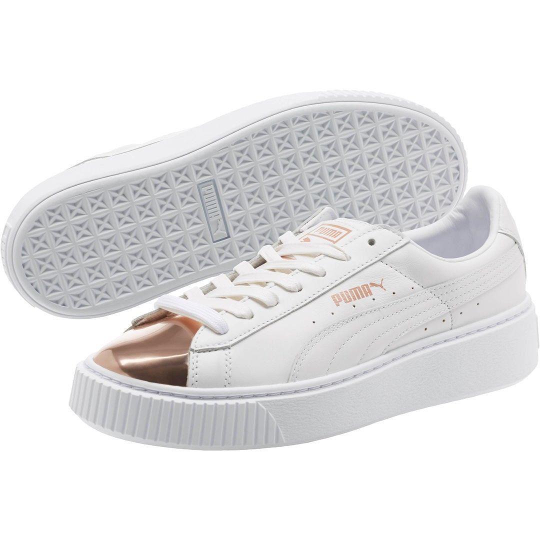 3875fb0ecce2 New Women s Puma Basket Platform White Leather Rose Gold Metallic 366169-03