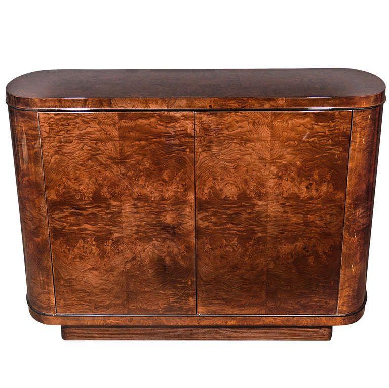 Amazing Art Deco Streamline Cabinet In Dark Burled Elm Wood