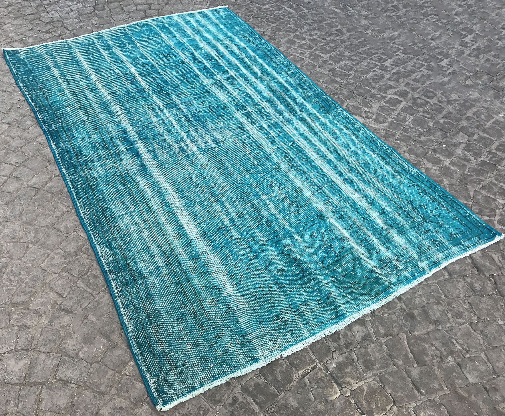 Blue Oushak Rug Vintage Overdyed Carpet Traditional Distressed Wool And Cotton Ethnic