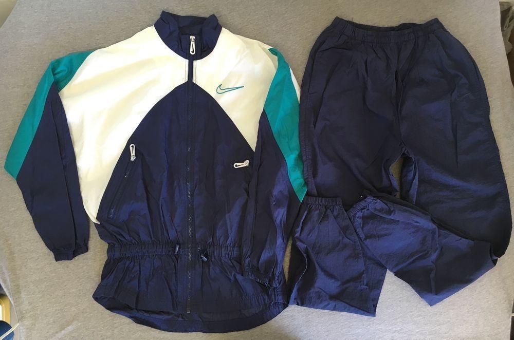 f877b15f3a9cf Nike Track Suit Jacket Windbreaker Pants 90s Vtg Nylon Colorblock ...
