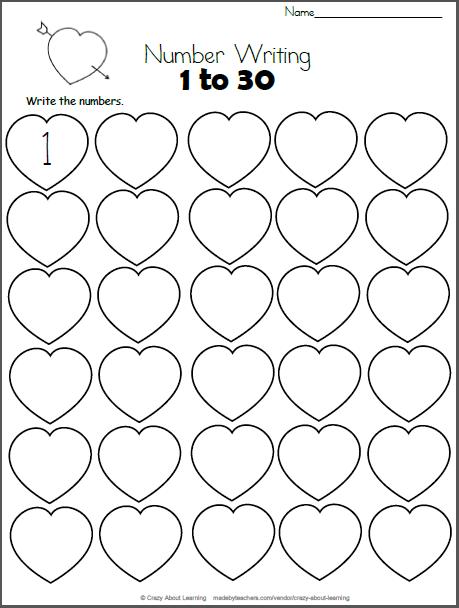 Valentine S Day Math Numbers 1 To 30 Madebyteachers Math Valentines Kindergarten Valentines Preschool Math