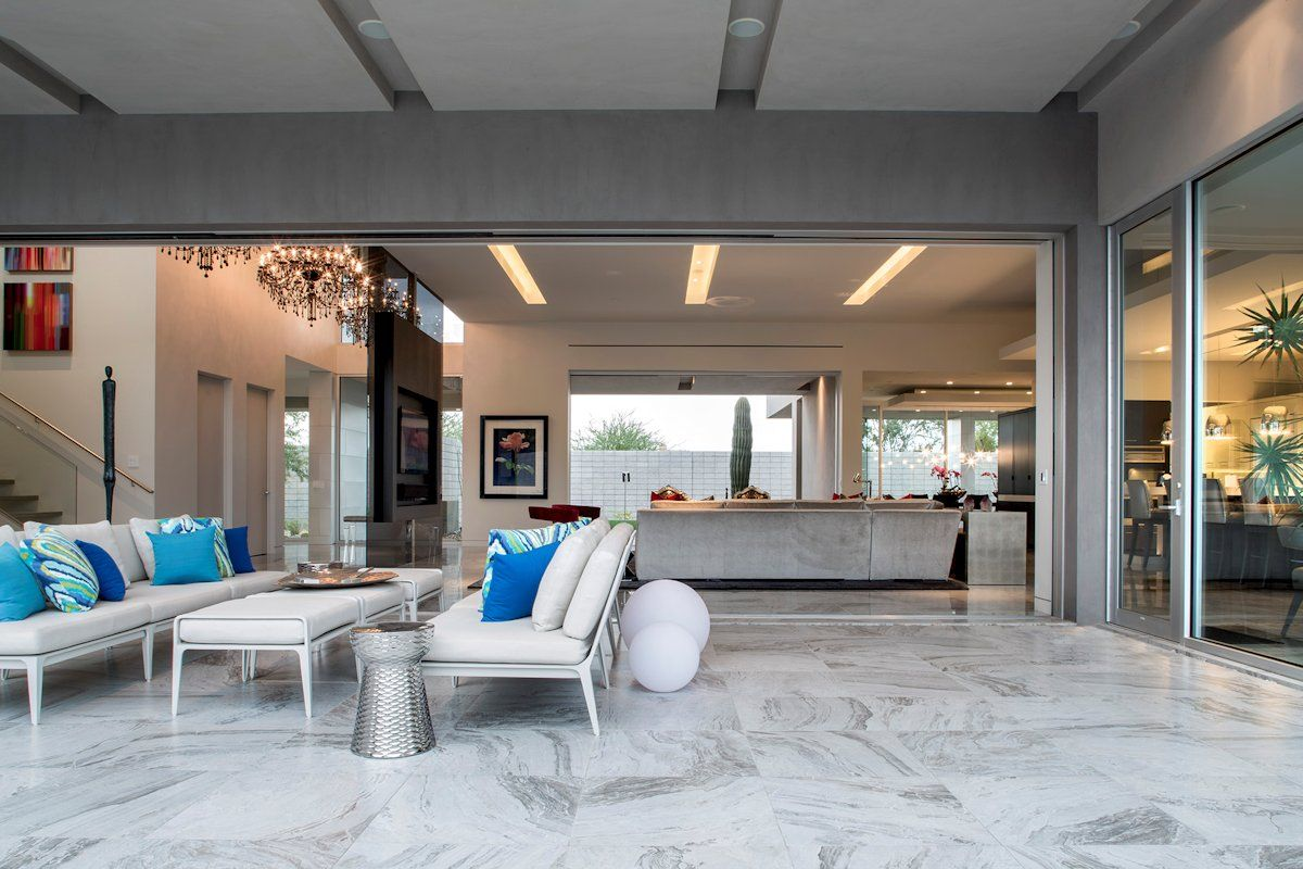 Modern exterior sliding doors - Sliding Patio Doors Marvin Doors Modern Home Idea With A White Marble Floor Marble Floor