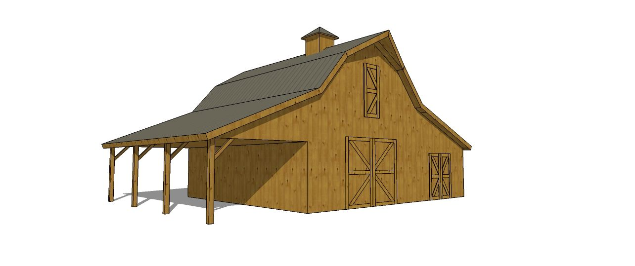 Barn With One Open Sided Lean To And One Enclosed Lean To