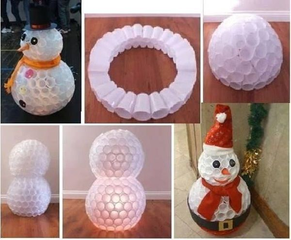 Diy snowman using plastic cups plastic cups kerst and for Cup snowman