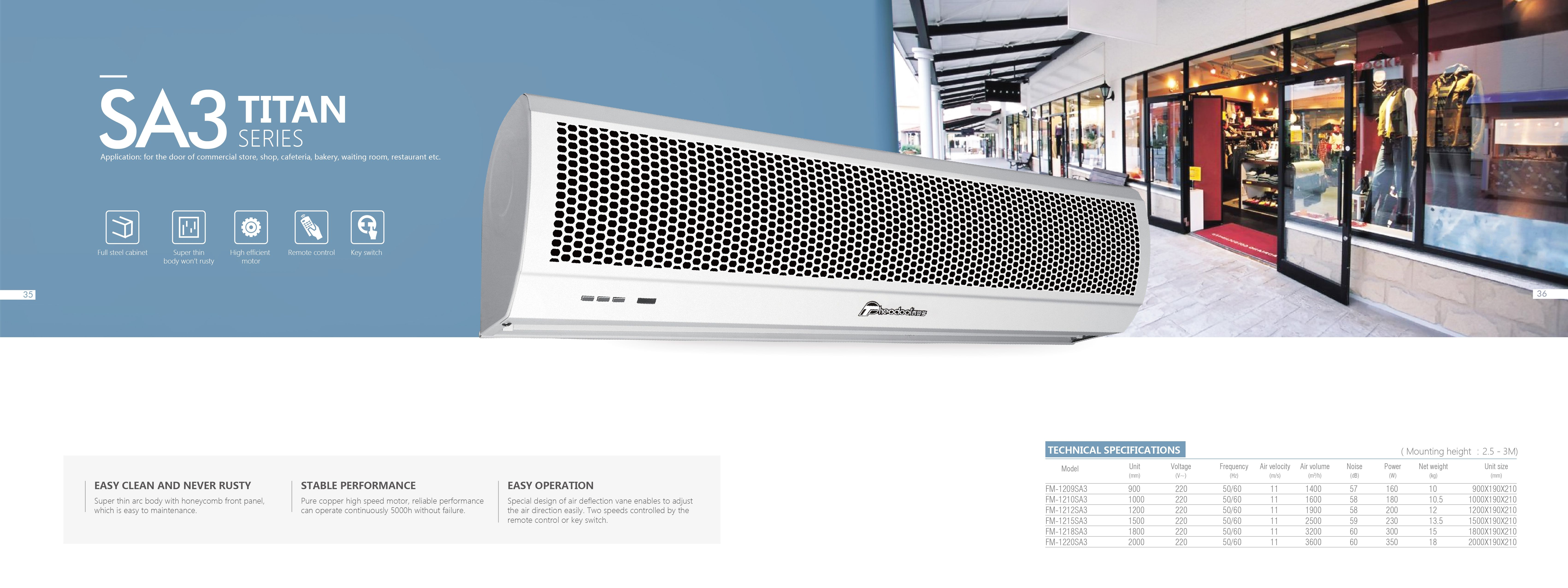 Wall Mounted Compact Design Titan 3 Residential Air Curtain With