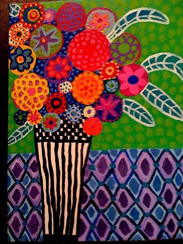 Mexican Flowers Lisa Tilson Folk Art Flowers Colorful Art