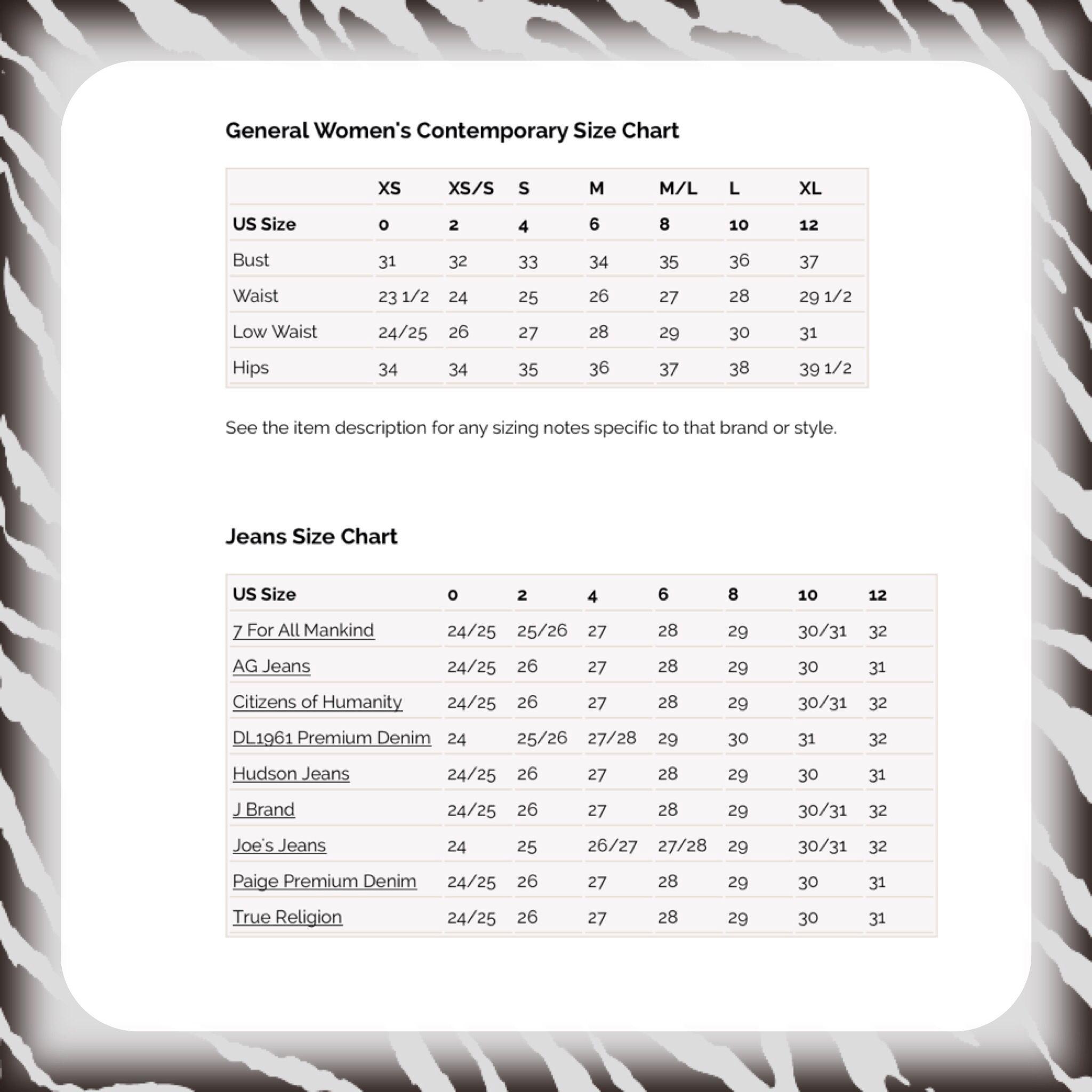 Denim Jean Size Conversion Charts Bodymeadurement Pinterest