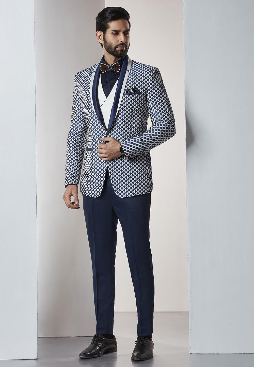 Blue White Party Wear Tuxedo Suit Designer Suits For Men Jackets Men Fashion Mens Party Wear