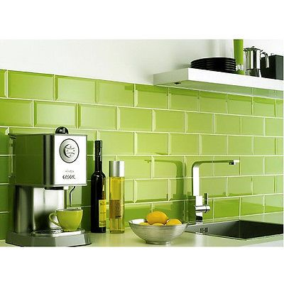liven up the kitchen with bright green high gloss bevel tiles