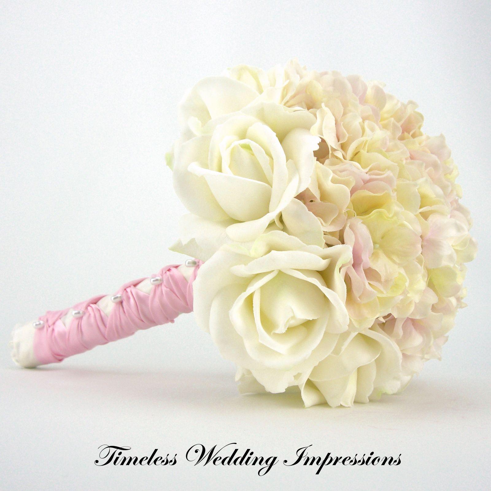 Hydrangea Wedding Bouquets Bridal Bouquet Real Touch Pink White Silk Wedding Flowers Biede Silk Flowers Wedding Bridal Bouquet Pink White Rose Bridal Bouquet
