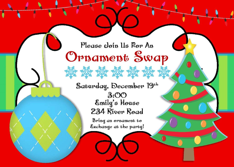 DIY PRINTABLE Christmas Ornament Swap Party | Santa Claus | Class ...