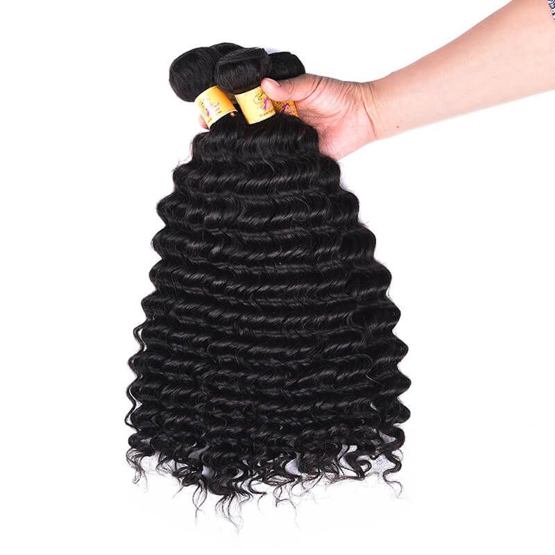 Marchqueen Virgin Indian Hair Deep Wave Weave Hair Extensions 4