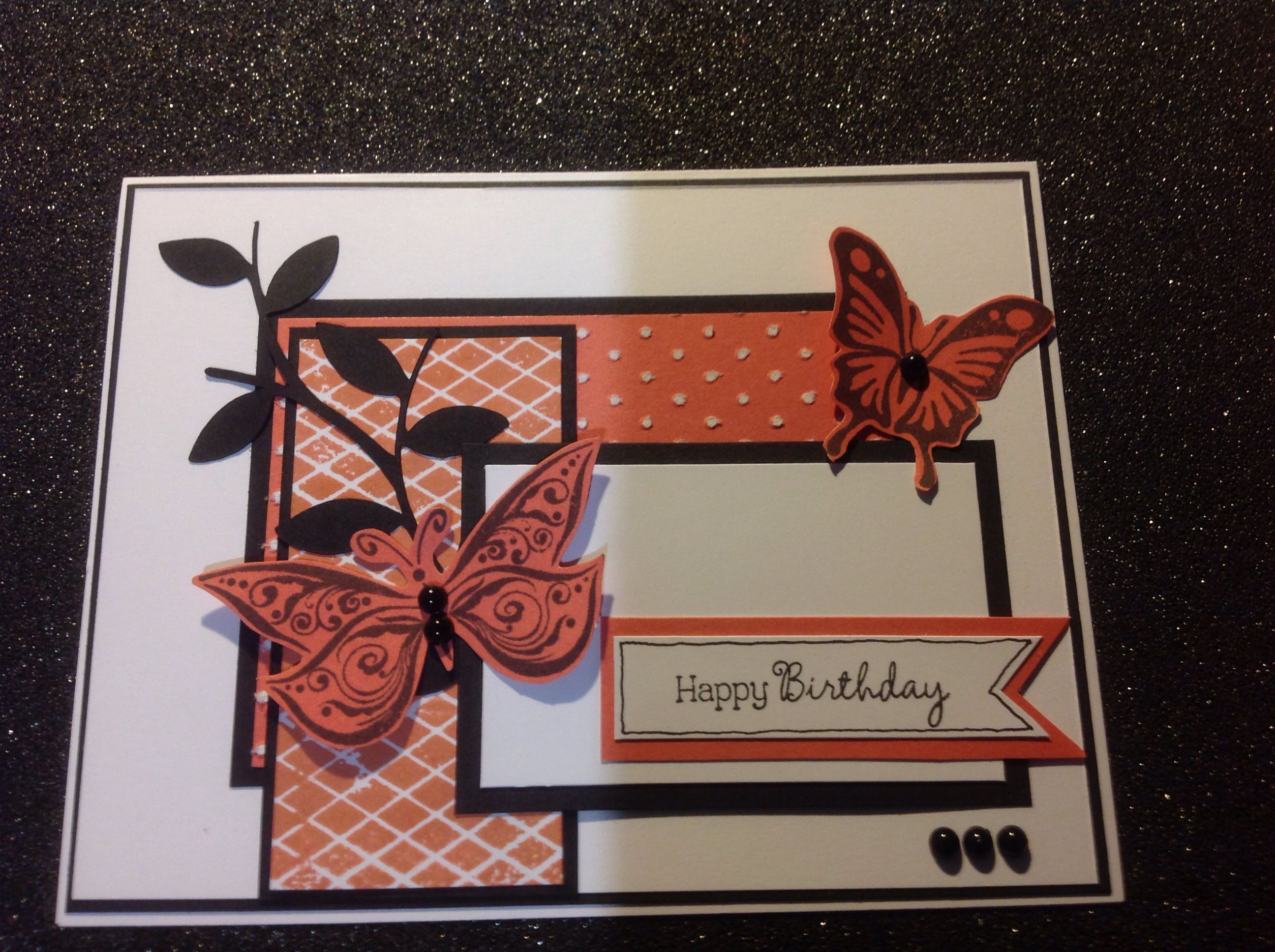 CTMH papers, Black, Daisy White, Sunset, with small dot embossing Cricut cut for leaves from Art Philosophy and Butterflies from Your Own Kind of Wonderful.