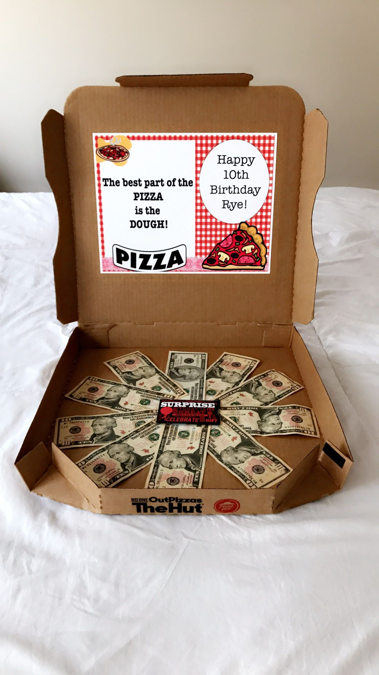 Pizza Money Box Perfect For Any Occasion I Made This One My 10 Year Old Daughter Put X Bills And A Gift Card To Hut