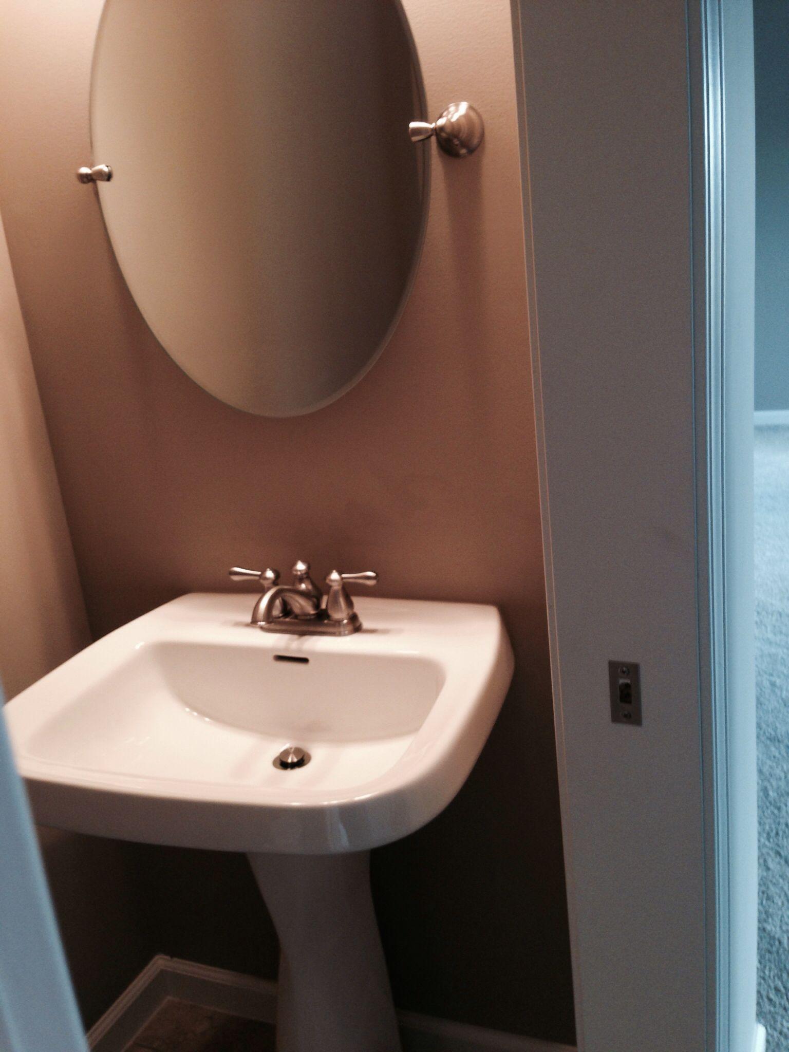 Pedestal sink and mirror in half bath. | Mi Casa Nueva | Pinterest ...
