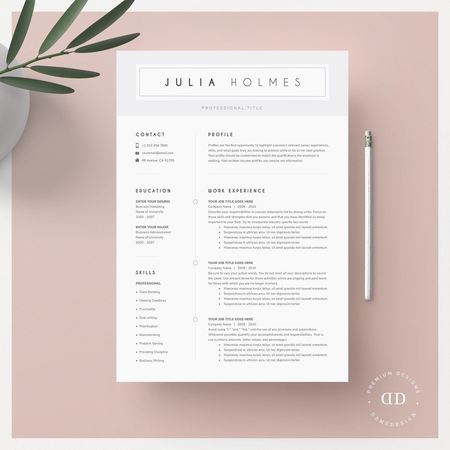 Resume Template For Mac Cv Template Cover Letter References