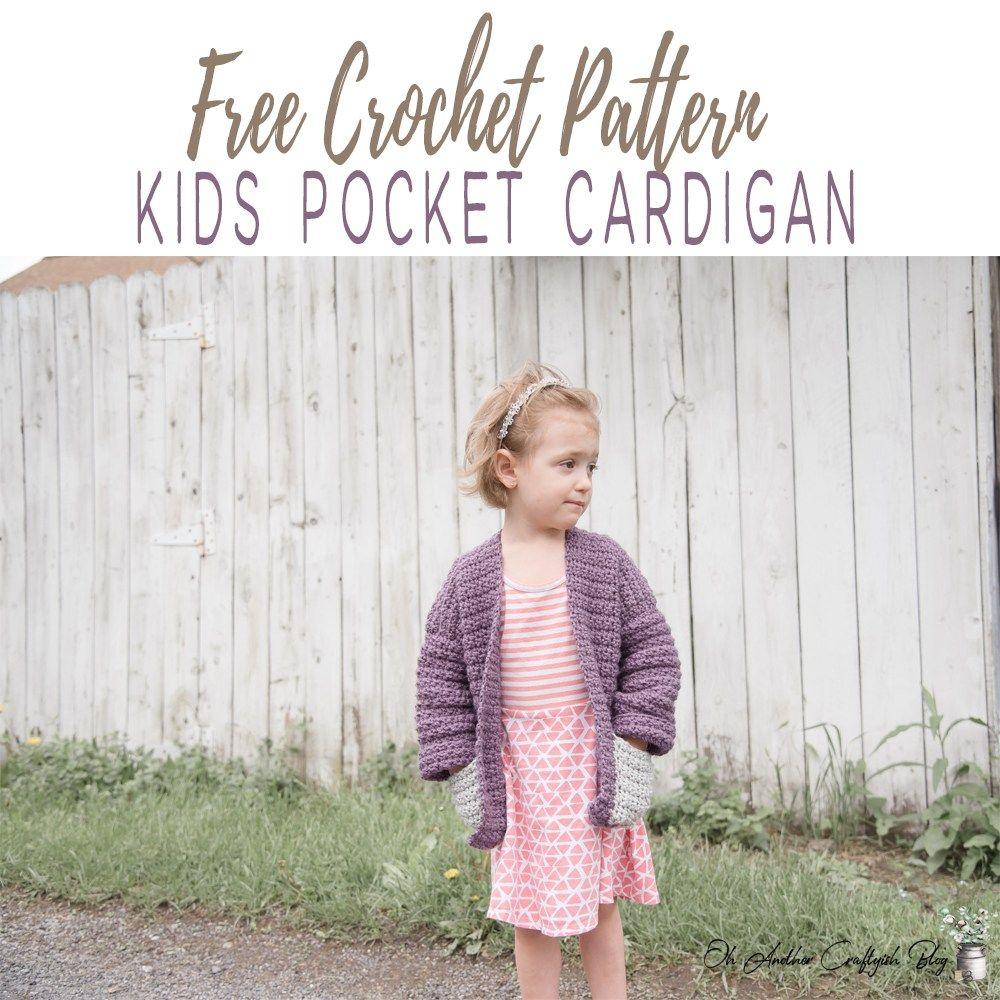 Free Crochet Pattern For The kids pocket Cardigan